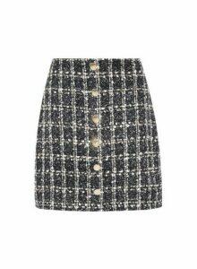 Womens Black Boucle Button Mini Skirt, Black