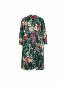 Womens **Dp Curve Black Floral Print Shirt Dress, Black