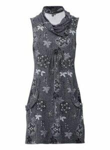 Womens *Izabel London Grey Floral Print Cowl Neck Knitted Dress, Grey