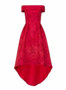 Womens *Chi Chi London Red Embroidered Dip Hem Skater Bardot Dress- Red, Red