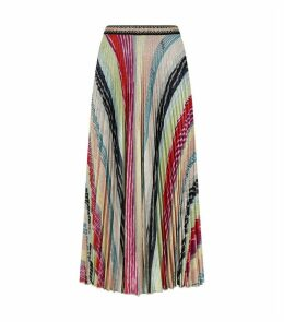 Metallic Knit Midi Skirt