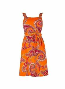 Womens Orange Paisley Print Fit And Flare Dress, Orange
