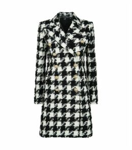 Embellished Houndstooth Tweed Coat