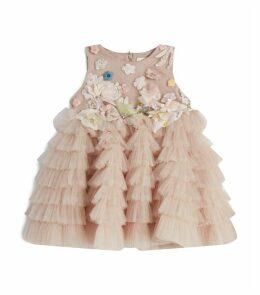 Floral Appliqué Ruffle Dress