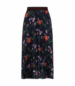 Luish Hedgerow Floral Print Pleated Midi Skirt