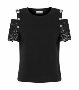 Lace Sleeve Cold-Shoulder T-Shirt