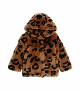 Rex Rabbit Leopard Print Hooded Coat