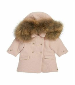 Racoon Fur Trim Double-Breasted Coat