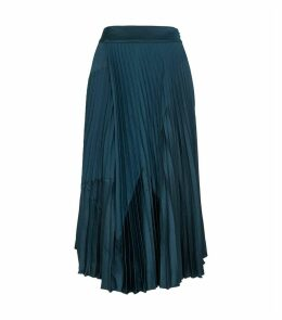 Chevron-Pleated Midi Skirt