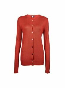 Womens **Tall Rust Core Button Cardigan- Red, Red