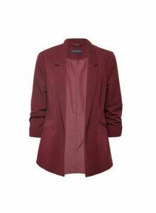 Womens Damson Ruched Sleeve Jacket- Purple, Purple