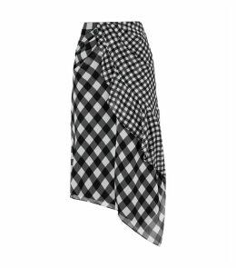 Gingham Print Midi Skirt