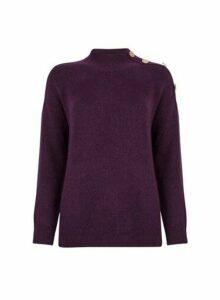 Womens Purple Button Shoulder Jumper, Purple