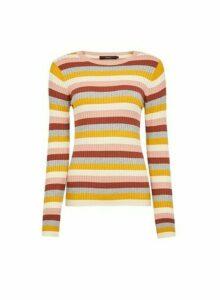 Womens **Vero Moda Multi Coloured Stripe Print Pull On Jumper- Pink, Pink
