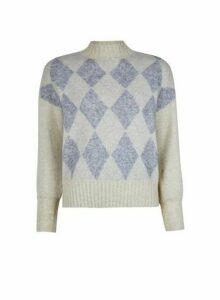 Womens **Only Cream Diamond Print Knitted Jumper, Cream