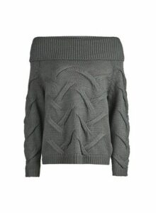 Womens **Vila Grey Bardot Knitted Jumper, Grey