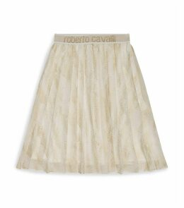 Foil Lizard-Print Pleated Skirt