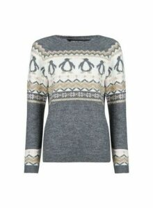Womens Grey Penguin Christmas Jumper, Grey