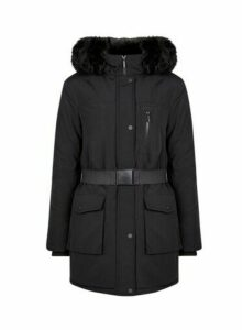 Womens Black Faux Fur Trim Hood Parka Coat- Black, Black