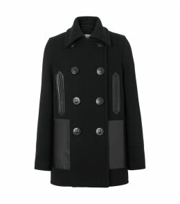 Leather Embellished Pea Coat