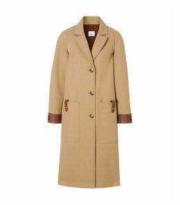 Leather-Trim Overcoat