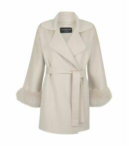 Fur Cuff Belted Coat
