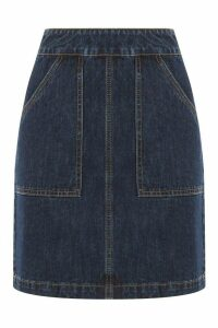 Womens Warehouse Blue Denim Patch Mini Pocket Skirt -  Blue