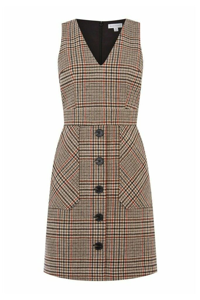 Womens Warehouse Black Check Mini Pinafore Dress -  Black