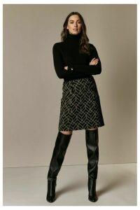 Womens Wallis Black Geometric Print Button Detail Skirt -  Black