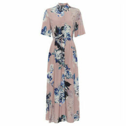 French Connection  Printed Long Shirt Dress  women's Long Dress in Pink