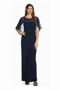 Womens Adrianna Papell Blue Chiffon Jersey Draped Gown -  Blue