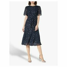 L.K.Bennett Eve Tie Waist Spot Dress, Midnight