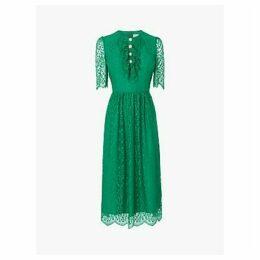 L.K.Bennett Mallory Lace Bow Tea Dress, Fern Green