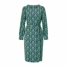 Boden Florrie Dress, Navy/Green Bud