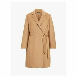 Lauren Ralph Lauren Curve Wool Blend Wrap Coat, Dark Camel