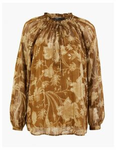 M&S Collection Floral Print Smocked Neck Blouse