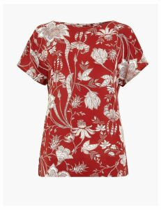 M&S Collection Floral Print Short Sleeve Top