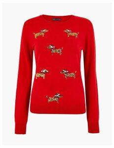 M&S Collection Embellished Dog Christmas Jumper