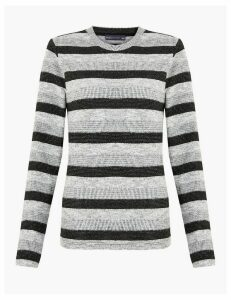 M&S Collection Sparkly Striped Straight Fit Sweatshirt