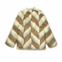 Faux fur jacket with chevron intarsia
