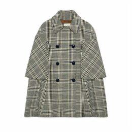 Check wool cape coat