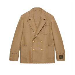 Camel jacket with sartorial labels