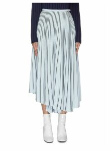 Stripe symmetric pleated midi skirt