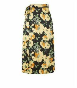 Urban Bliss Black Satin Floral Wrap Midi Skirt New Look
