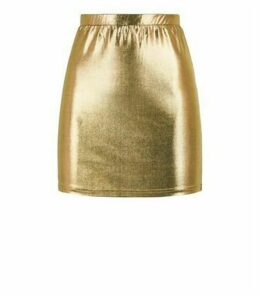 Noisy May Gold Metallic Mini Skirt New Look