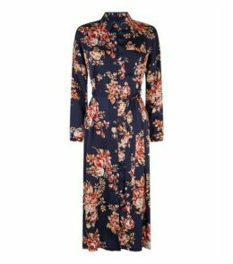 Cameo Rose Blue Satin Floral Midi Shirt Dress New Look