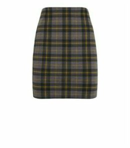 Yellow Check Tube Mini Skirt New Look