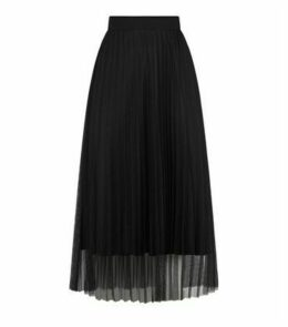 Black Mesh Pleated Midi Skirt New Look