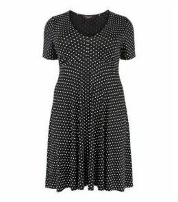 Curves Black Spot Empire Jersey Dress New Look