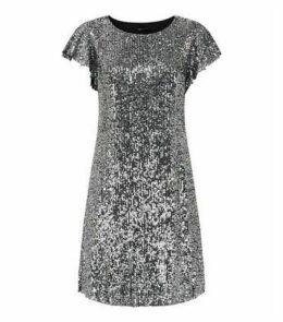 Black Sequin Flutter Sleeve Mini Dress New Look